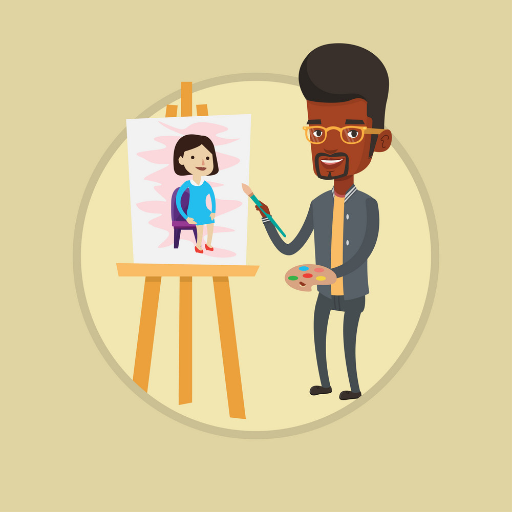 Young african-american man painting a female model on canvas. Artist drawing on an easel. Cheerful artist working on painting. Vector flat design illustration in the circle isolated on background.