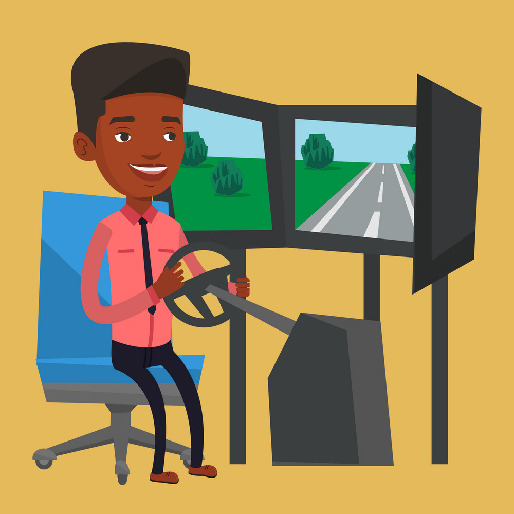 Young african-american man playing video game with gaming wheel. Smiling gamer driving autosimulator in game room. Man playing car racing video game. Vector flat design illustration. Square layout.