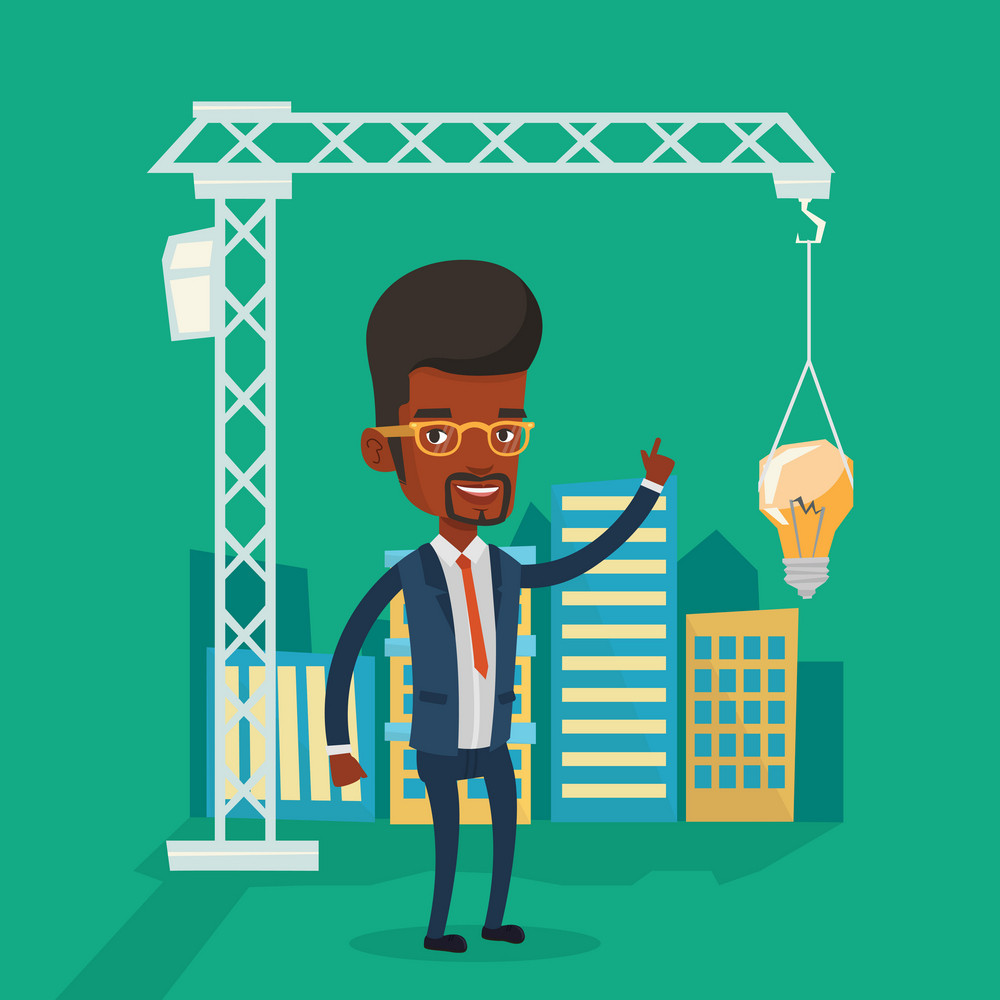 Young african-american man pointing at light bulb hanging on crane. Architect having idea in town planning. Concept of new ideas in architecture. Vector flat design illustration. Square layout.