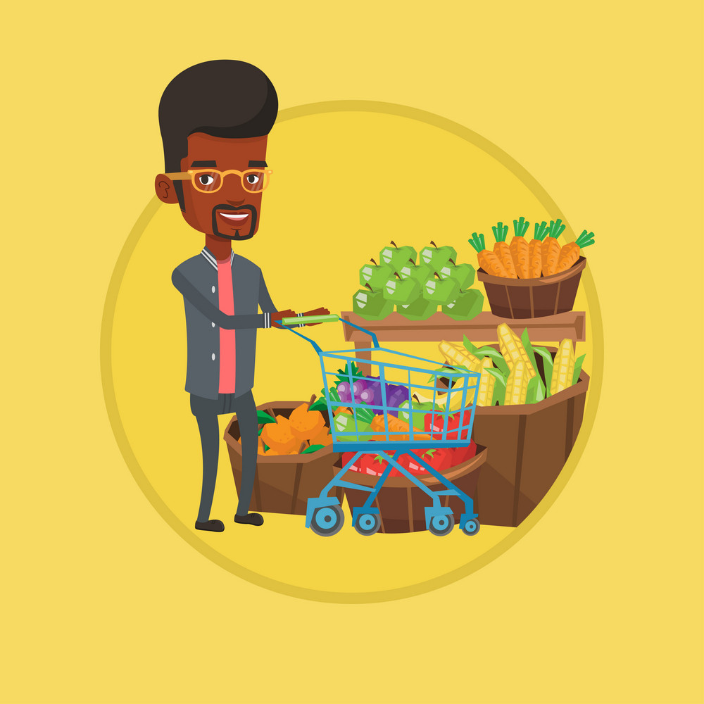 Young african-american man pushing supermarket cart with some healthy products in it. Customer shopping at supermarket with cart. Vector flat design illustration in the circle isolated on background.