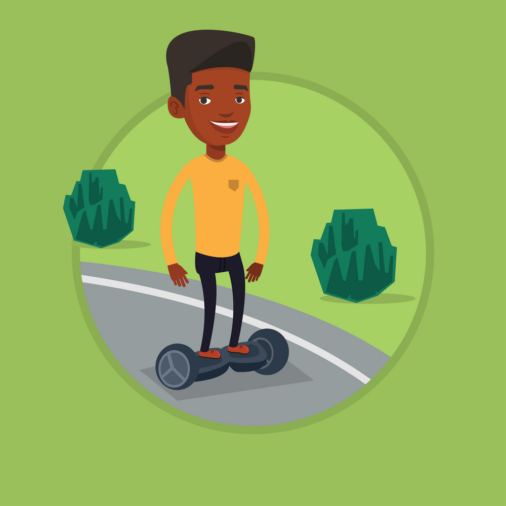 Young african-american man riding on self-balancing electric scooter in the park. Man standing on self-balancing electric scooter. Vector flat design illustration in the circle isolated on background.