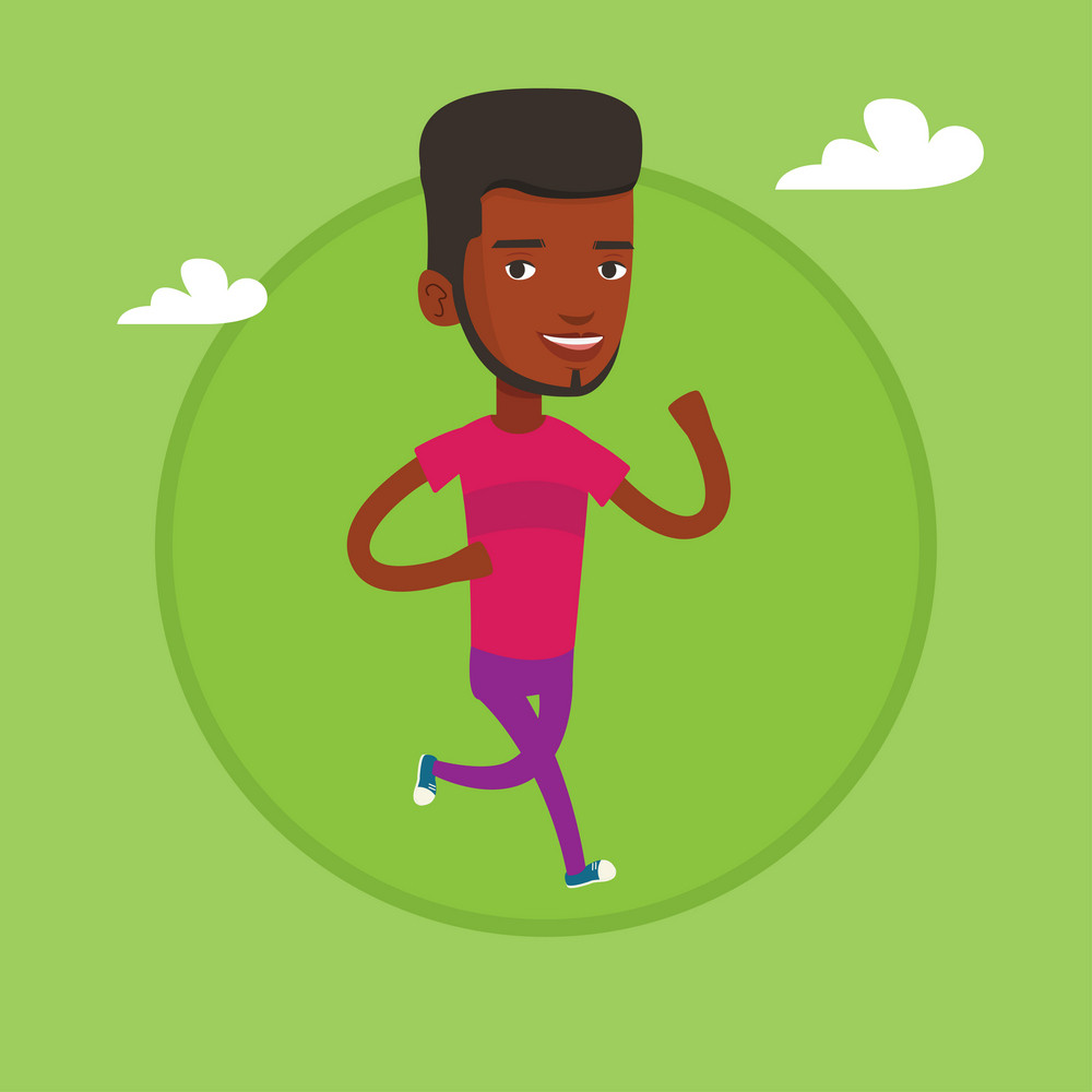 Young african-american man running. Happy man jogging. Full length of a smiling man running. Sportsman in sportswear running. Vector flat design illustration in the circle isolated on background.