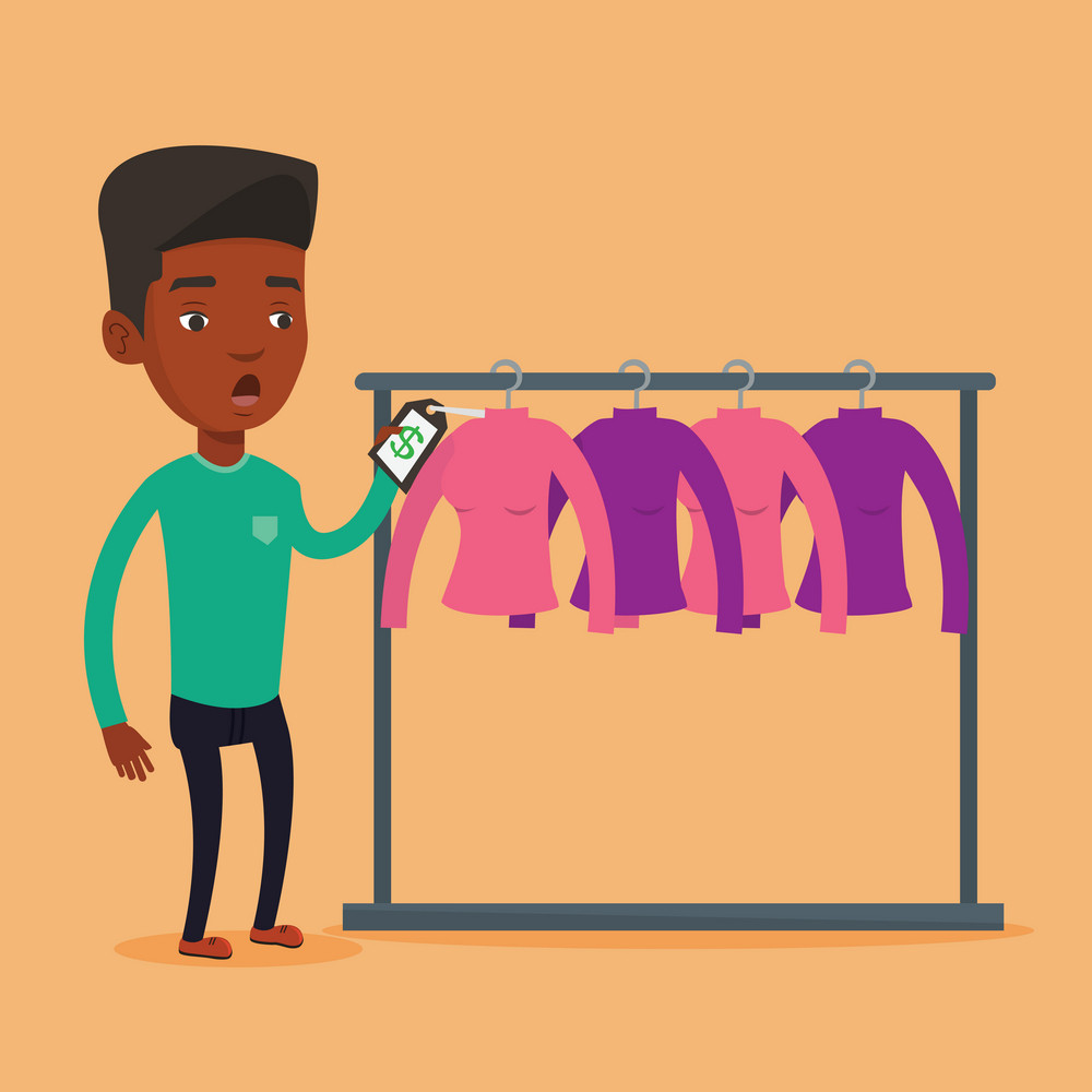 Young african-american man shocked by price tag in clothing store. Surprised man looking at price tag in clothing store. Amazed man staring at price tag. Vector flat design illustration. Square layout