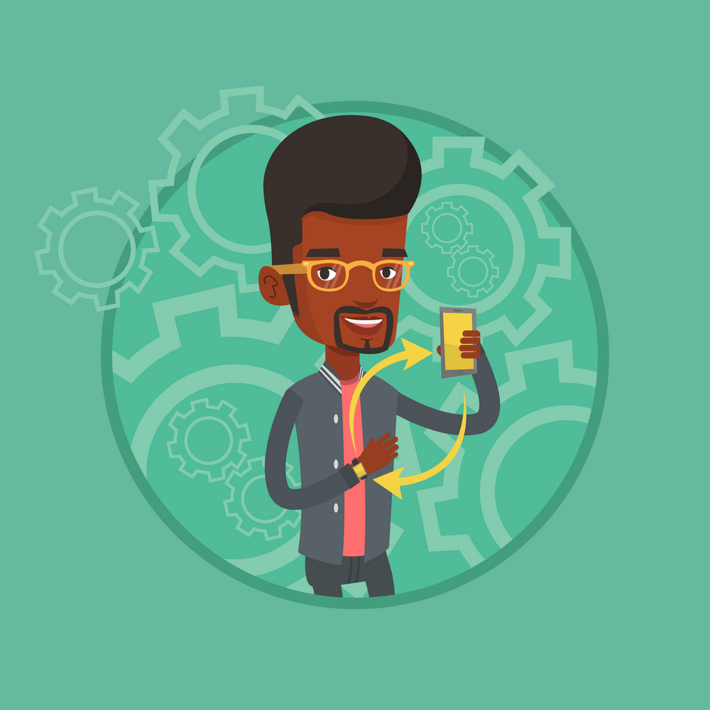 Young african-american man showing his smartphone and smart watch. Concept of synchronization between smartwatch and smartphone. Vector flat design illustration in the circle isolated on background.