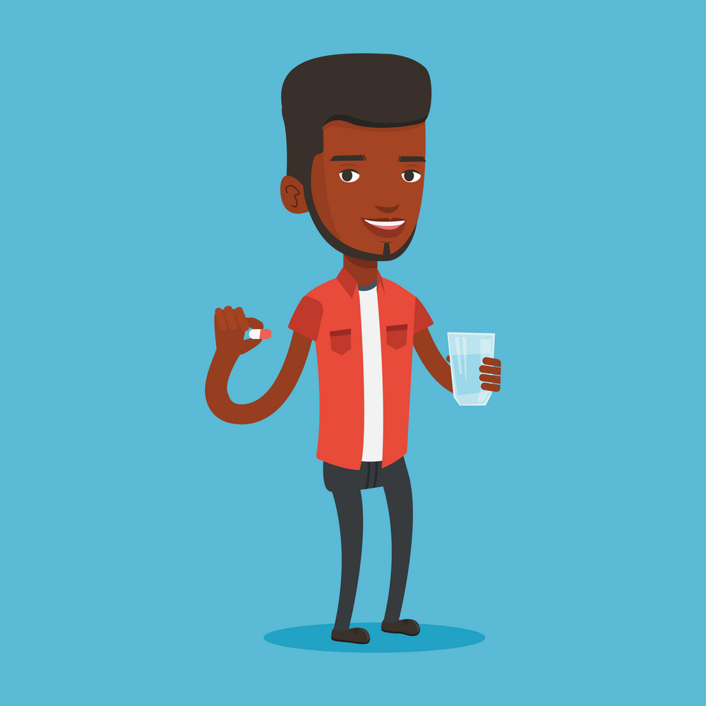 Young african-american man taking pills. Man holding pills and glass of water in hands. Happy smiling man taking vitamins. Healthy lifestyle concept. Vector flat design illustration. Square layout.