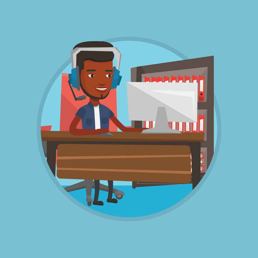 Young african-american man using computer for playing games. Happy smiling gamer in headphones playing online games on a computer. Vector flat design illustration in the circle isolated on background.