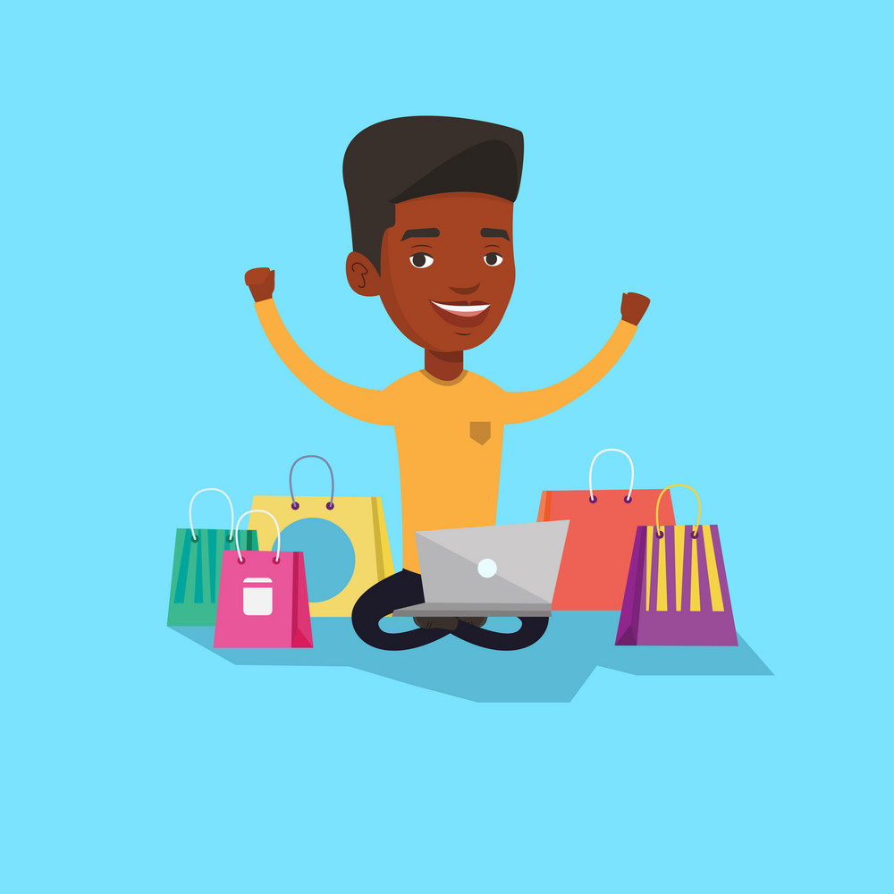 Young african-american man with hands up using laptop for shopping online. Customer sitting with shopping bags around him. Man doing online shopping. Vector flat design illustration. Square layout.