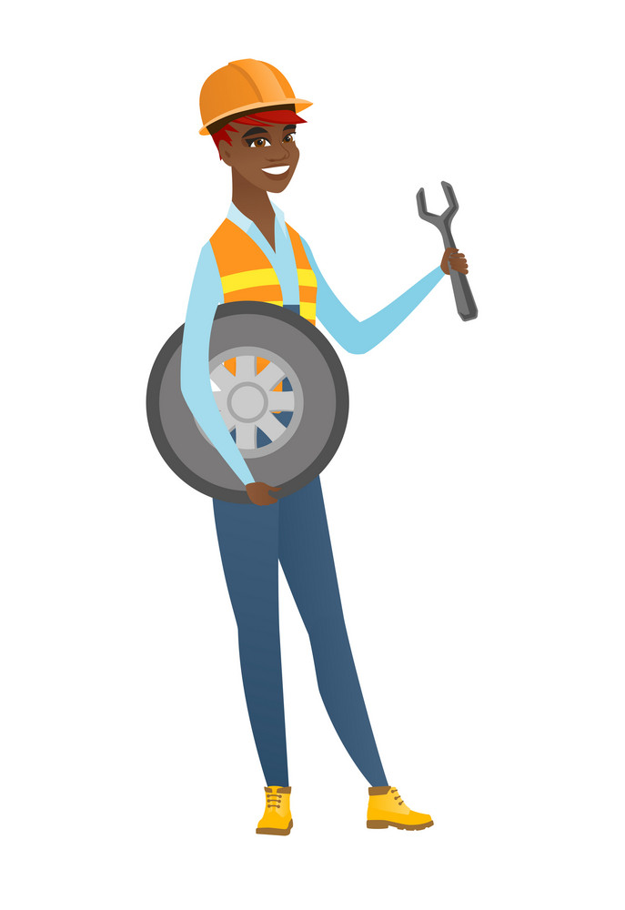 Young african-american mechanic in uniform and hard hat holding spanner and wheel. Full length of smiling mechanic with tyre and spanner. Vector flat design illustration isolated on white background.