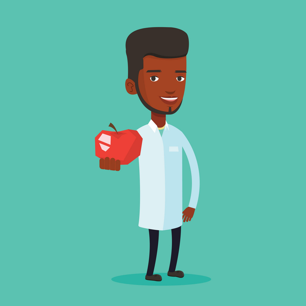 Young african-american nutritionist prescribing diet and healthy eating. Confident nutritionist holding an apple. Nutritionist offering fresh red apple. Vector flat design illustration. Square layout