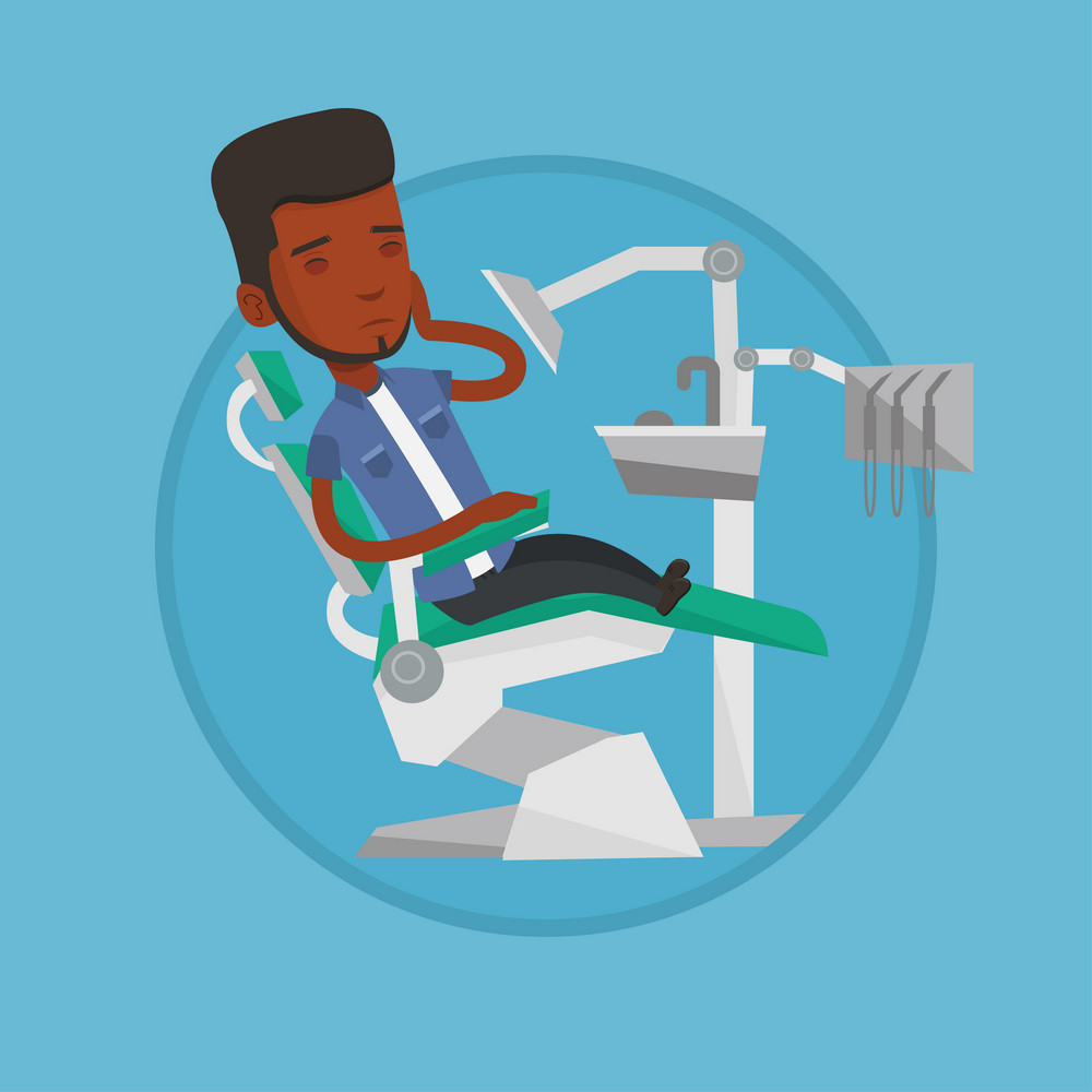 Young african-american patient visiting dentist because of toothache. Sad man suffering from toothache. Man having a toothache. Vector flat design illustration in the circle isolated on background.