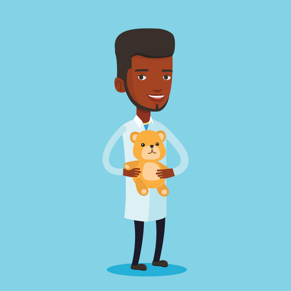 Young african-american pediatrician in medical gown. Male pediatrician doctor holding a teddy bear. Male pediatrician doctor standing with a teddy bear. Vector flat design illustration. Square layout.
