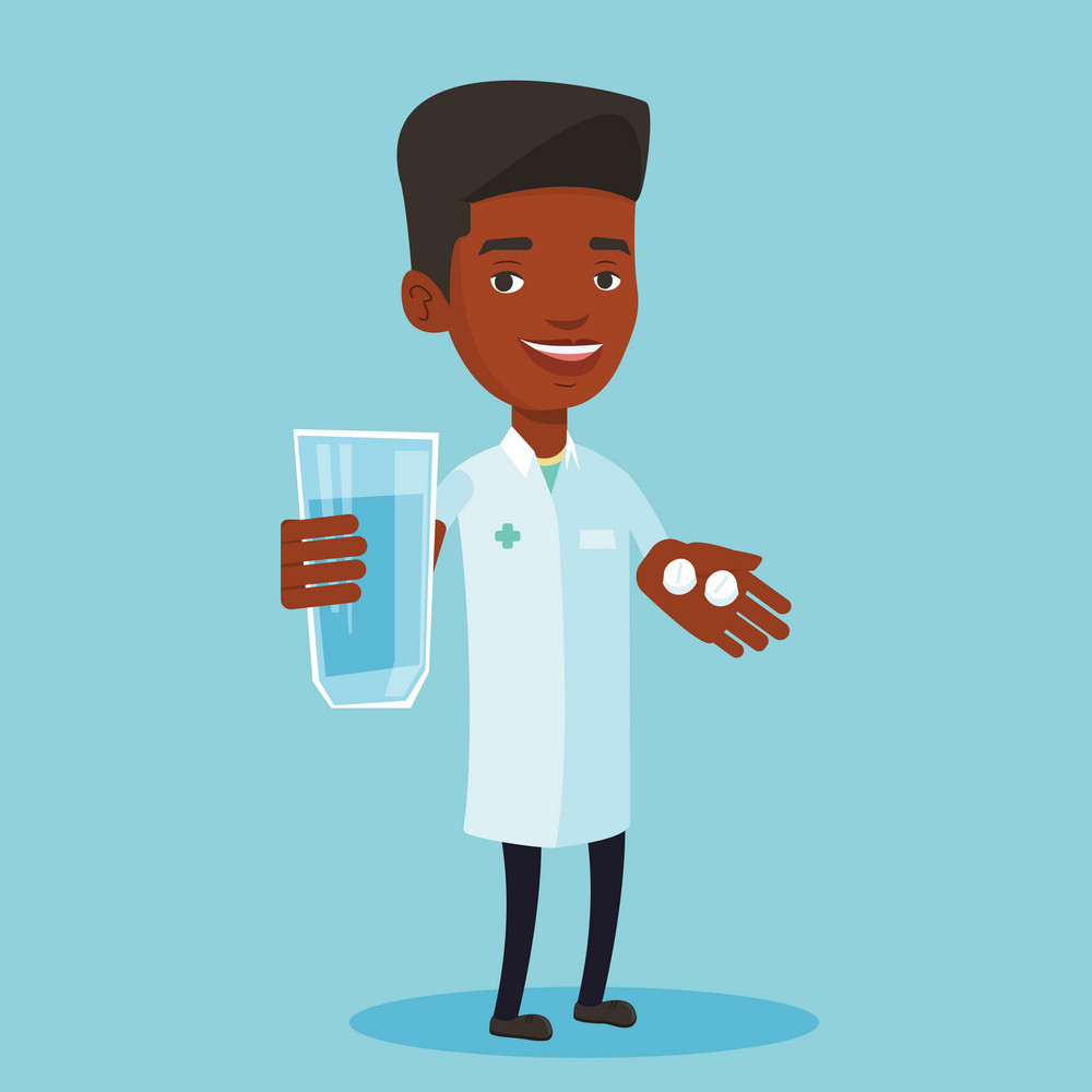 Young african-american pharmacist holding a glass of water and pills in hands. Smiling male pharmacist in medical gown. Pharmacist giving medication. Vector flat design illustration. Square layout.