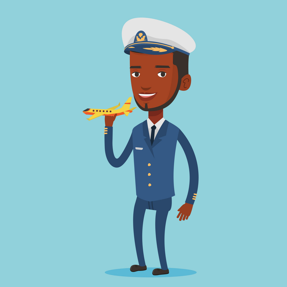 Young african-american pilot holding a model of airplane in hand. Cheerful airline pilot in uniform. Smiling pilot with model of airplane. Vector flat design illustration. Square layout.
