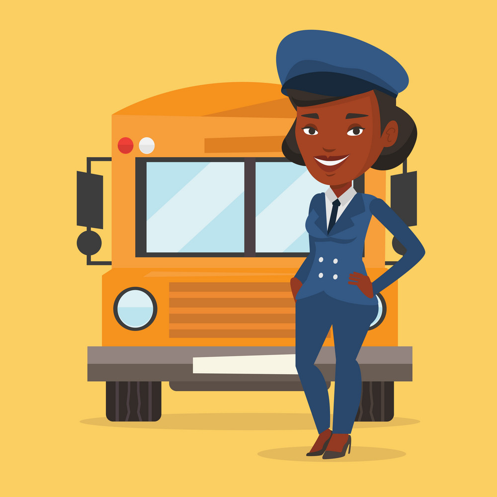 Young african-american school driver standing in front of yellow bus. Smiling female school bus driver in uniform. Cheerful female school bus driver. Vector flat design illustration. Square layout.