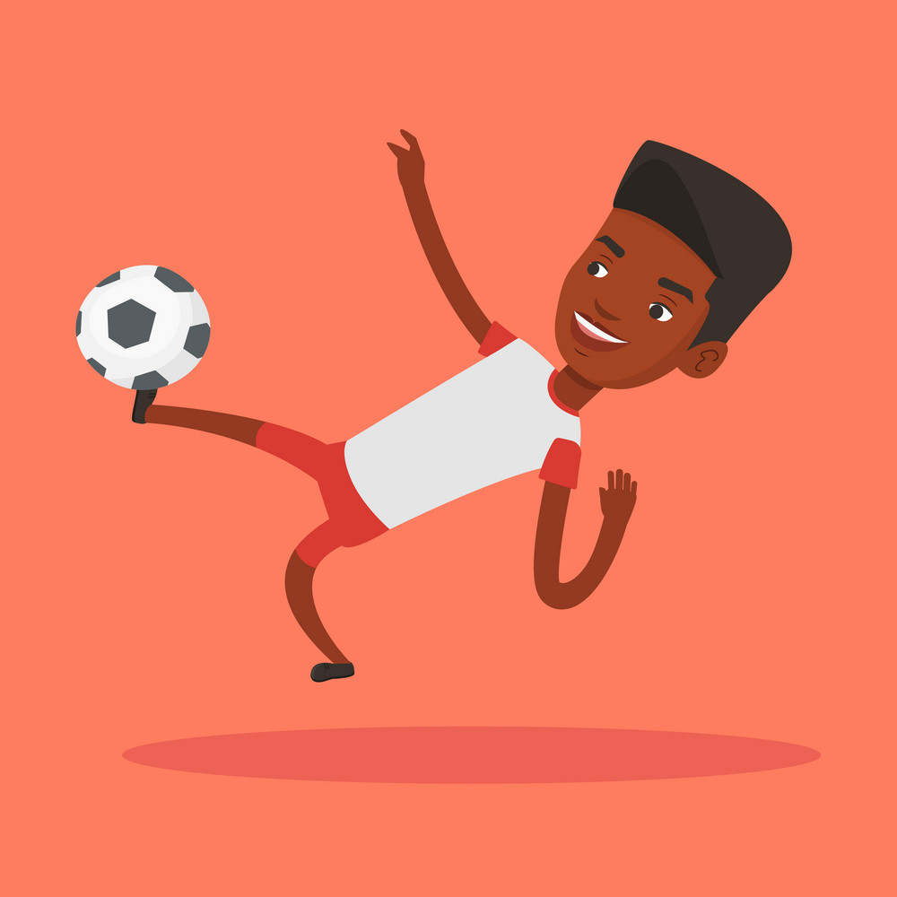 Young african-american soccer player kicking ball during game. Happy male soccer player juggling with a ball. Football player playing with soccer ball. Vector flat design illustration. Square layout.
