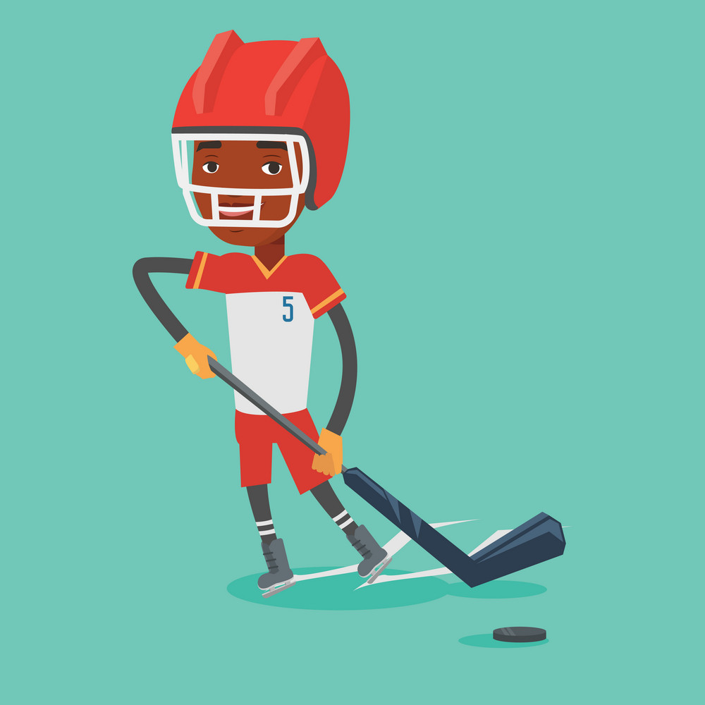 Young african-american sportsman playing ice hockey. Male ice hockey player in uniform skating on a rink. Male ice hockey player with a stick and puck. Vector flat design illustration. Square layout.