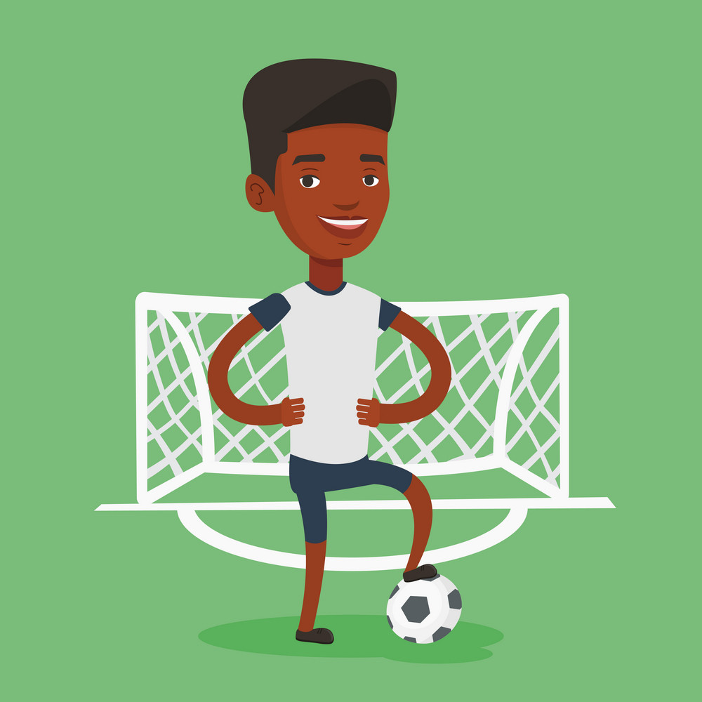 Young african-american sportsman standing with football ball on the stadium. Professional football player standing with a soccer ball on the field. Vector flat design illustration. Square layout.