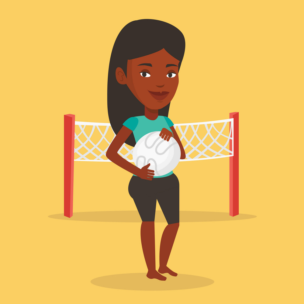 Young african-american sportswoman holding volleyball ball in hands. Sportive female beach volleyball player standing on background of volleyball net. Vector flat design illustration. Square layout.