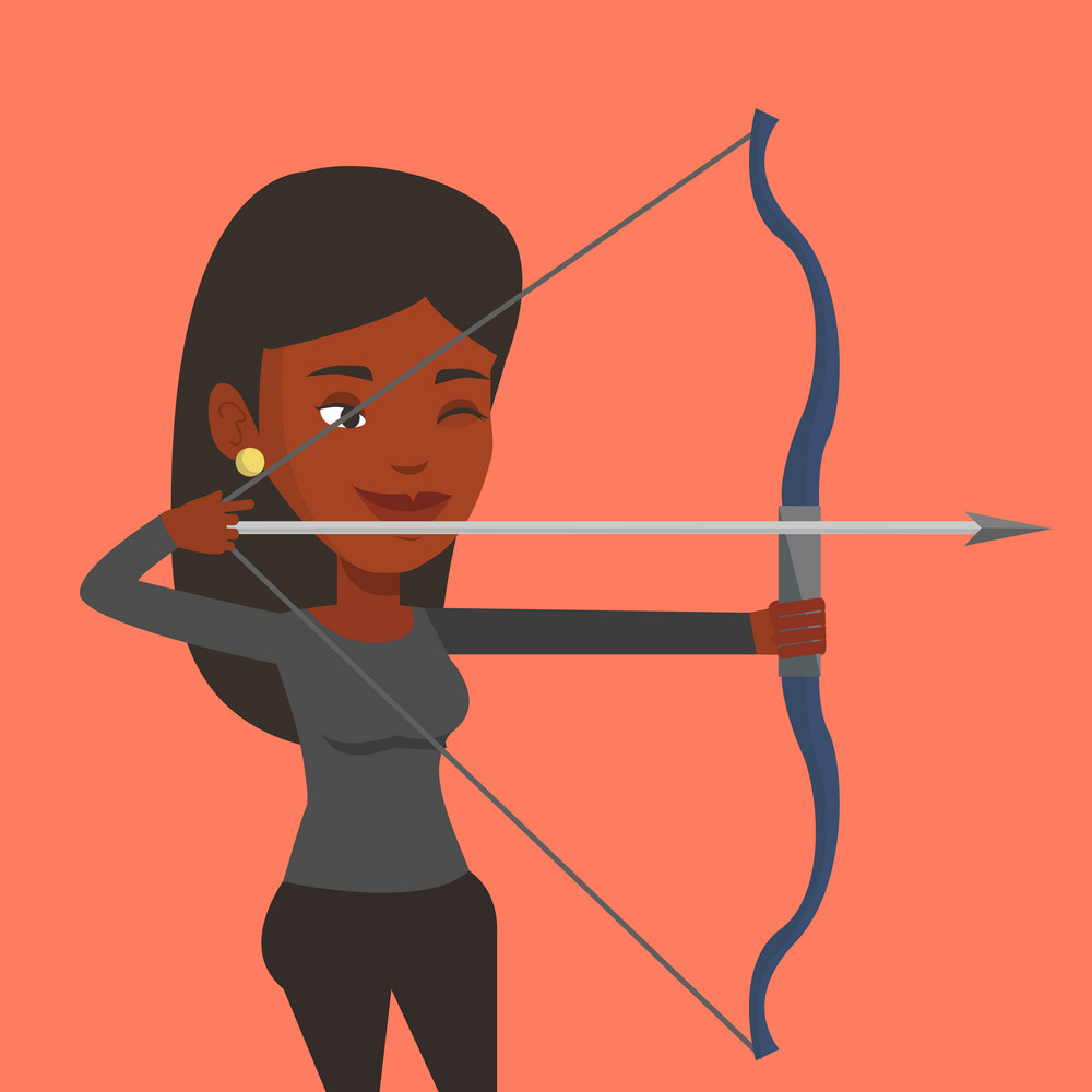 Young african-american sportswoman practicing in archery. Concentrated sportive woman training with the bow. Archery player aiming with a bow in hands. Vector flat design illustration. Square layout.