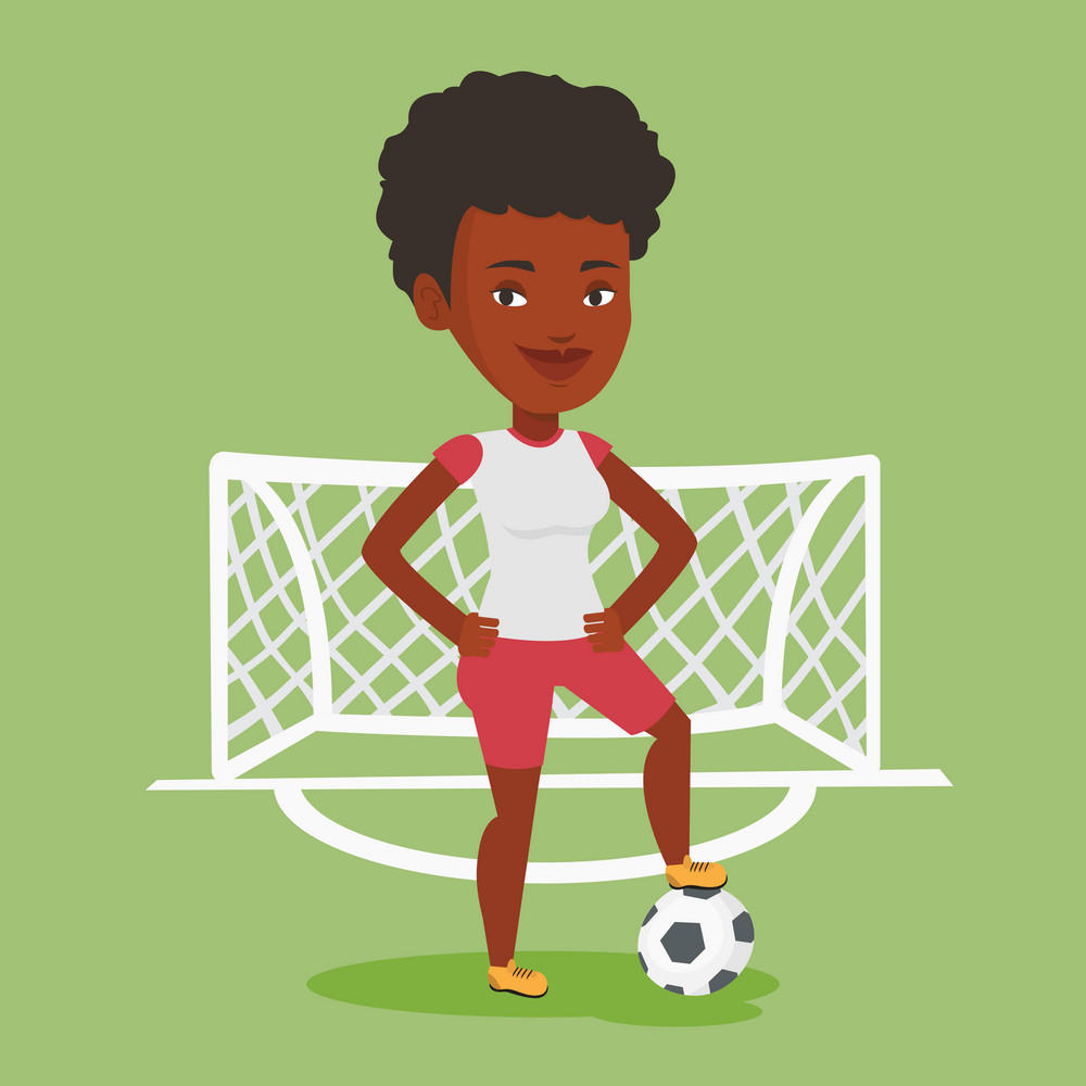 Young african-american sportswoman standing with football ball on the stadium. Professional football player standing with a soccer ball on the field. Vector flat design illustration. Square layout.