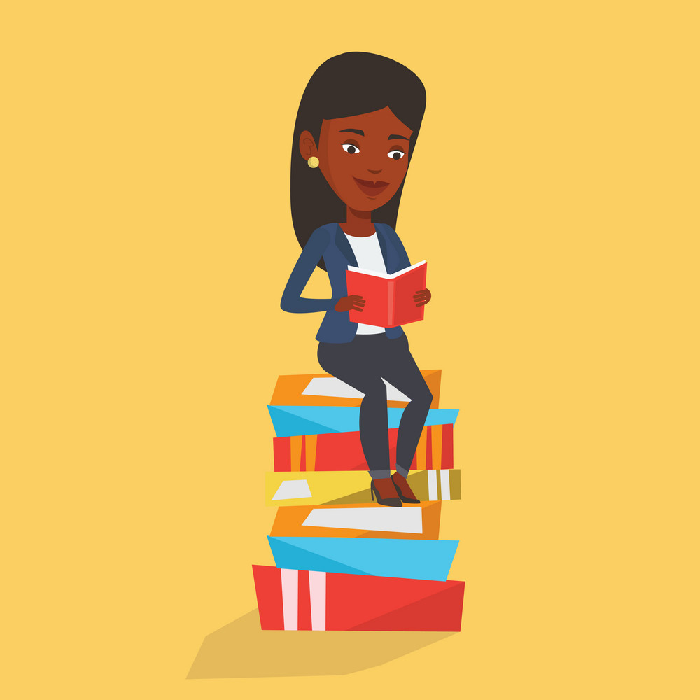 Young african-american student sitting on huge pile of books. Happy student reading book. Smiling woman sitting on stack of books with book in hands. Vector flat design illustration. Square layout.