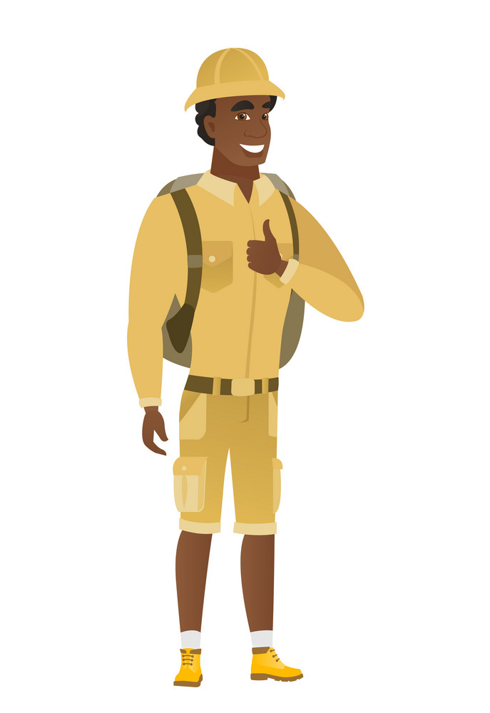 Young african-american traveler giving thumb up. Full length of smiling traveler with thumb up. Cheerful traveler showing thumb up. Vector flat design illustration isolated on white background.