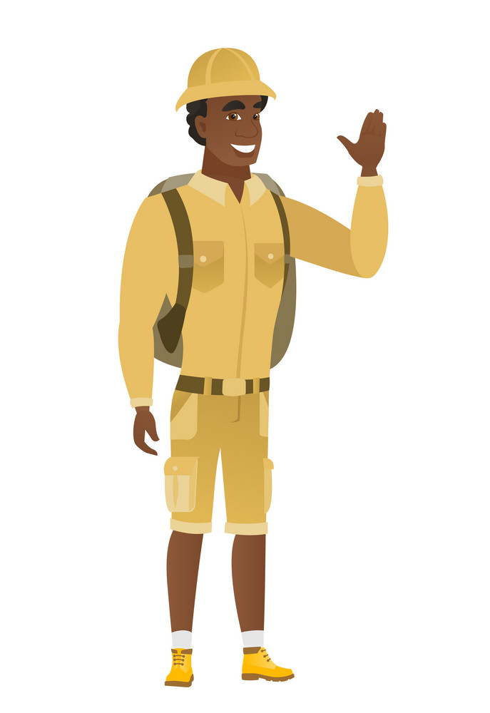 Young african-american traveler waving his hand. Full length of traveler waving his hand. Traveler making greeting gesture - waving hand. Vector flat design illustration isolated on white background
