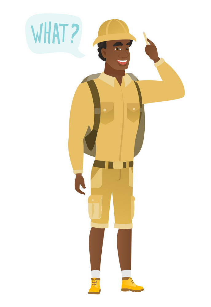 Young african-american traveler with question what in speech bubble. Full length of smiling traveler with text what in speech bubble. Vector flat design illustration isolated on white background.