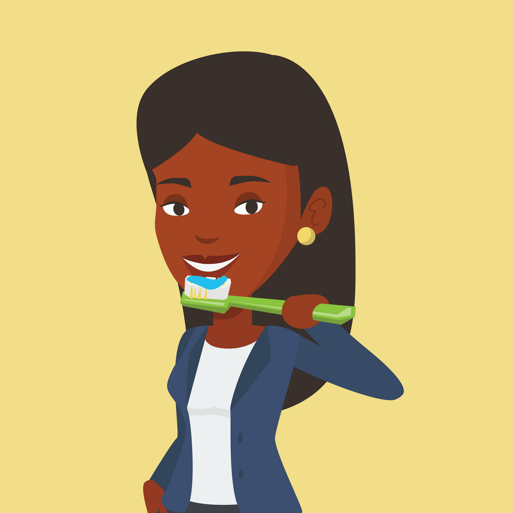 Young african-american woman brushing teeth. Smiling woman cleaning teeth. Cheerful woman taking care of her teeth. Happy girl with toothbrush in hand. Vector flat design illustration. Square layout.