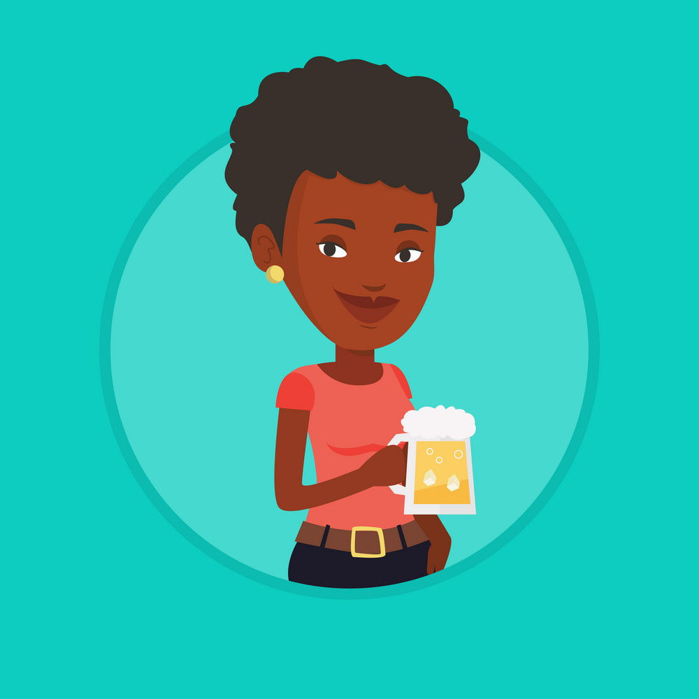 Young african-american woman celebrating with beer. Smiling woman holding a big glass of beer. Cheerful woman drinking beer. Vector flat design illustration in the circle isolated on background.