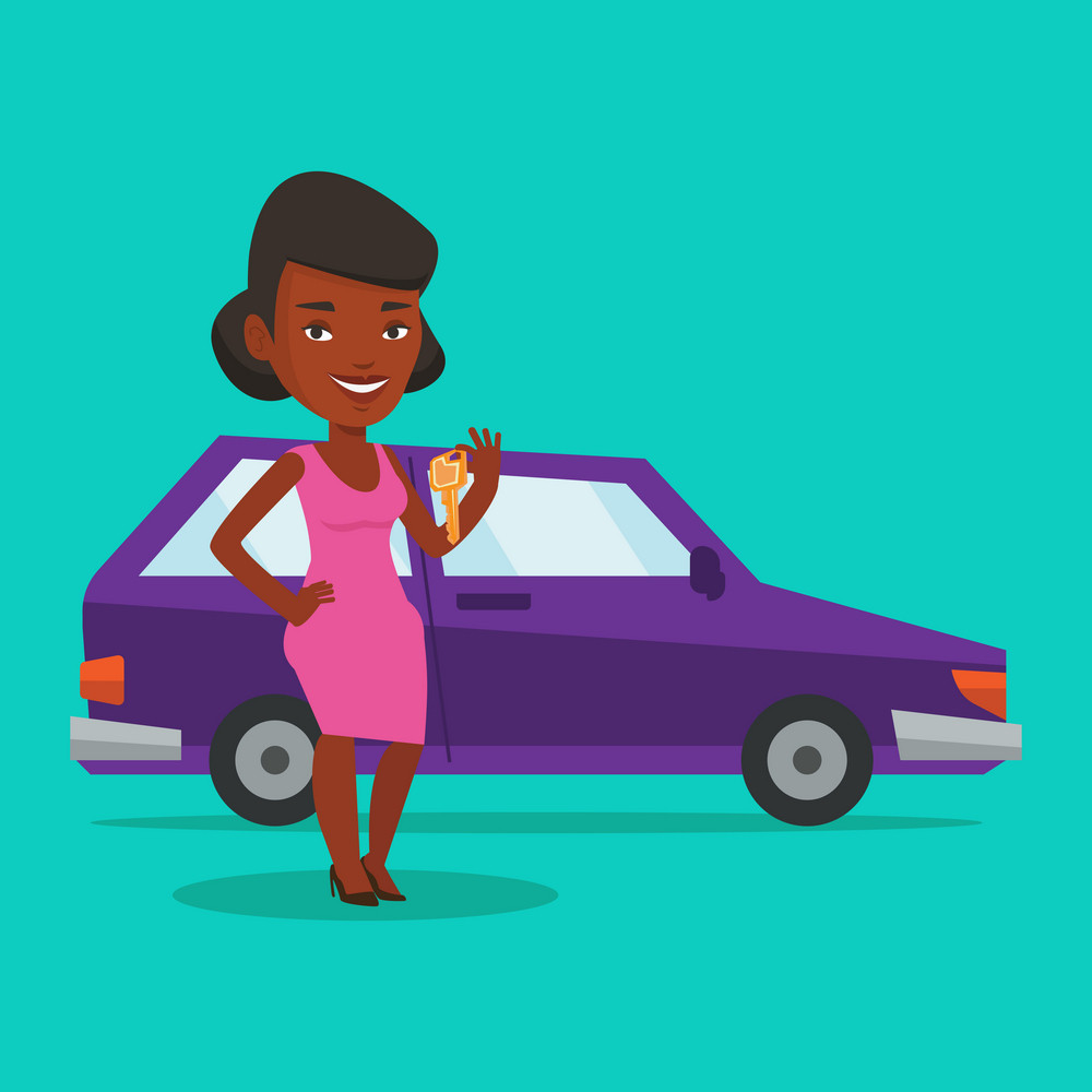 Young african-american woman holding keys to her new car. Happy woman showing key to her new car. Smiling woman standing on the backgrond of her new car. Vector flat design illustration. Square layout