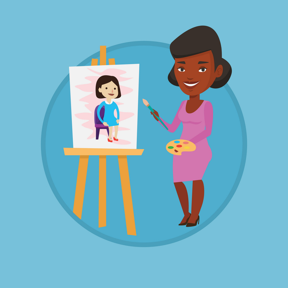 Young african-american woman painting on canvas. Creative smiling artist drawing on an easel. Cheerful artist working on painting. Vector flat design illustration in the circle isolated on background.