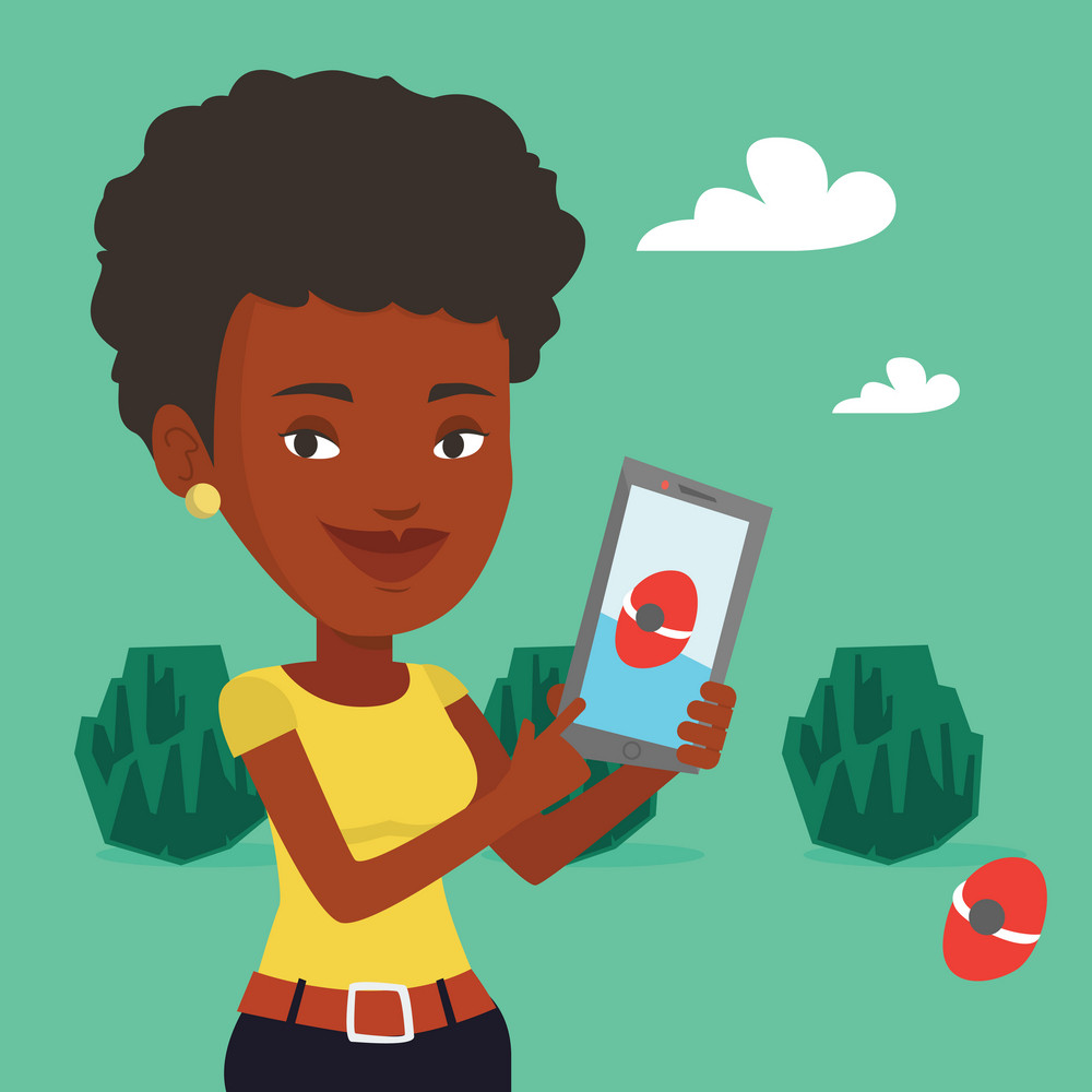 Young african-american woman playing action game on smartphone. Young woman playing on her smartphone outdoor. Woman using smartphone for playing games. Vector flat design illustration. Square layout.