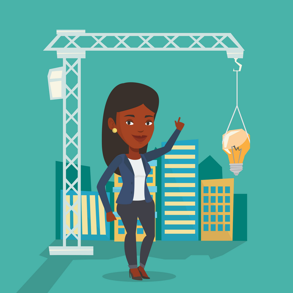 Young african-american woman pointing at light bulb hanging on crane. Architect having idea in town planning. Concept of new ideas in architecture. Vector flat design illustration. Square layout.