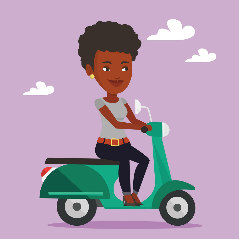 Young african-american woman riding a scooter outdoor. Smiling woman traveling on a scooter. Happy woman enjoying her trip on a scooter. Vector flat design illustration. Square layout.