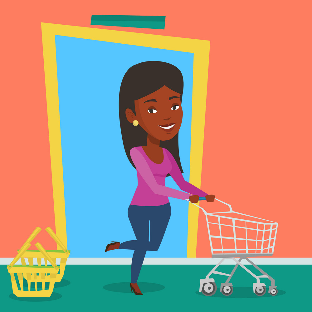 Young african-american woman running into the shop. Woman rushing to shopping. Customer with an empty shopping trolley pushing supermarket trolley. Vector flat design illustration. Square layout.