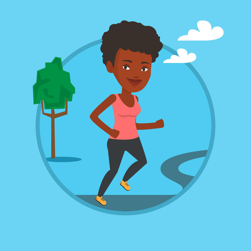 Young african-american woman running. Sportswoman running outdoors. Smiling sportswoman running in the park. Girl jogging outdoor. Vector flat design illustration in the circle isolated on background.