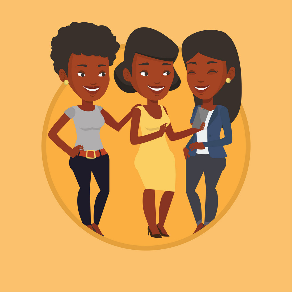 Young african-american woman showing something to her friends on smartphone. Three friends looking at smartphone and laughing. Vector flat design illustration in the circle isolated on background.