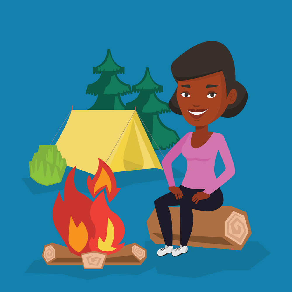 Young african-american woman sitting near a campfire at a campsite. Travelling woman sitting on a log near a campfire. Tourist relaxing near campfire. Vector flat design illustration. Square layout.