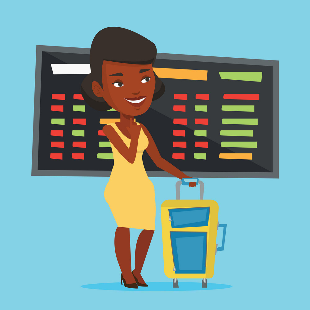 Young african-american woman waiting for a flight at the airport. Passenger with suitcase standing at the airport on the background of departure board. Vector flat design illustration. Square layout.
