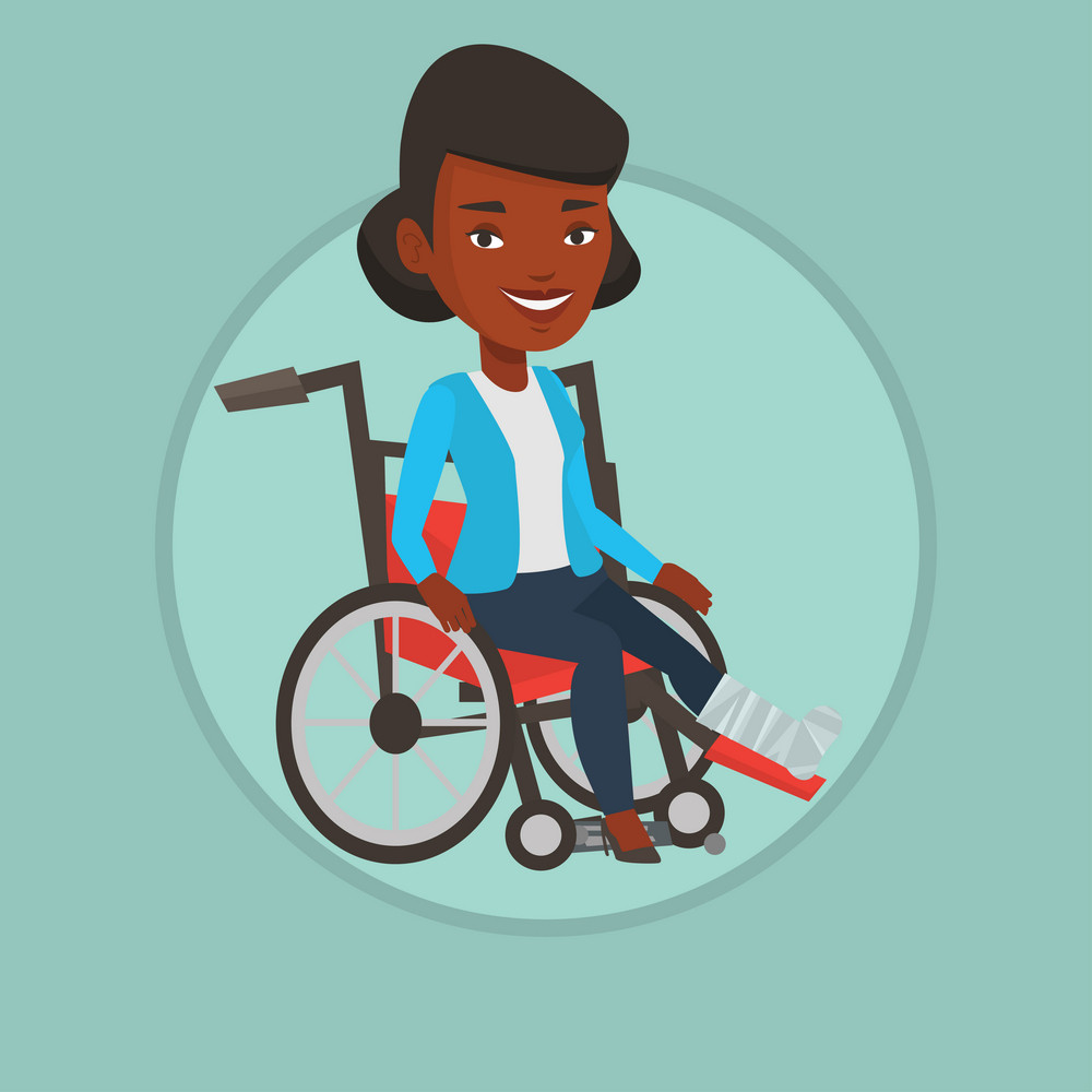 Young african-american woman with leg in plaster. Injured woman sitting in wheelchair with broken leg. Woman with fractured leg. Vector flat design illustration in the circle isolated on background.
