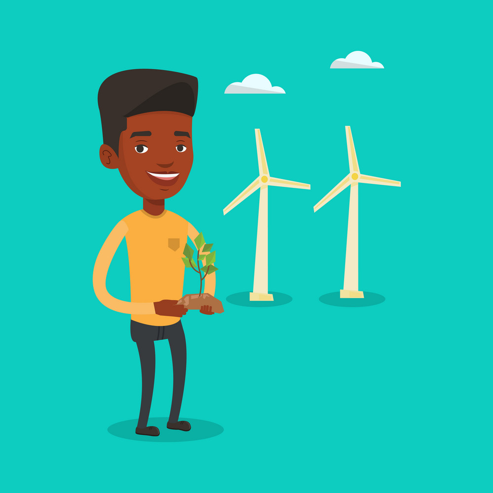 Young african-american worker of wind farm. Man holding in hands green small plant in soil on the background of wind turbines. Green energy concept. Vector flat design illustration. Square layout.