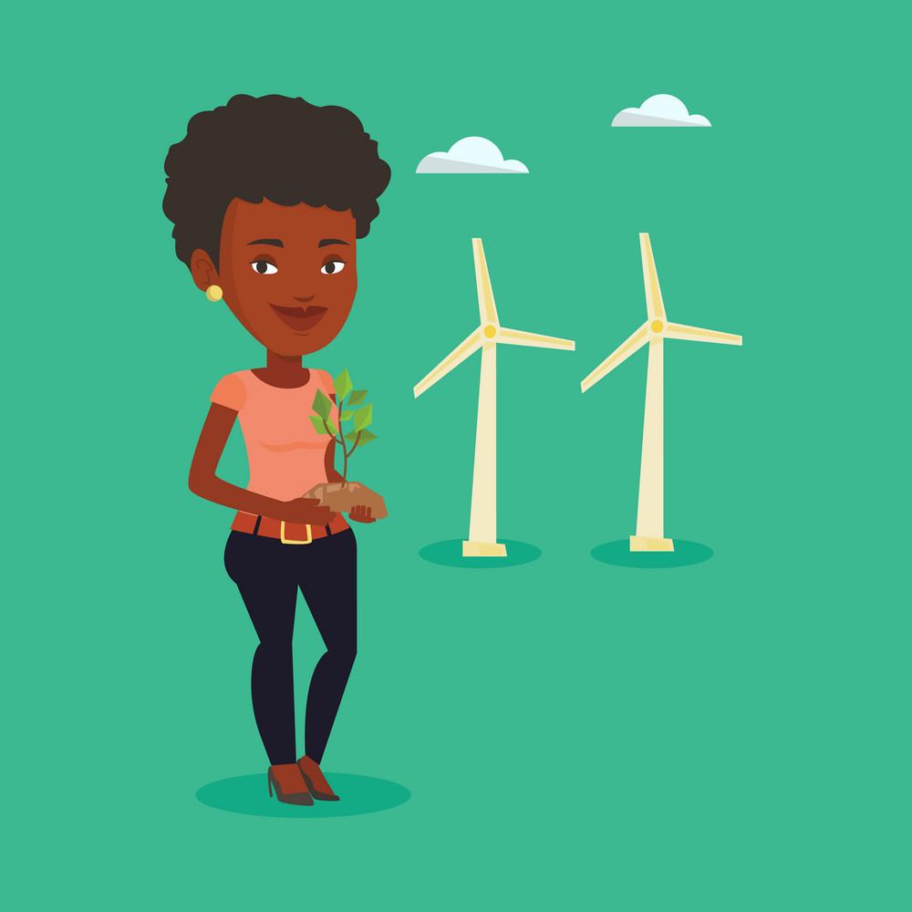 Young african-american worker of wind farm. Woman holding in hands green small plant in soil on the background of wind turbines. Green energy concept. Vector flat design illustration. Square layout.