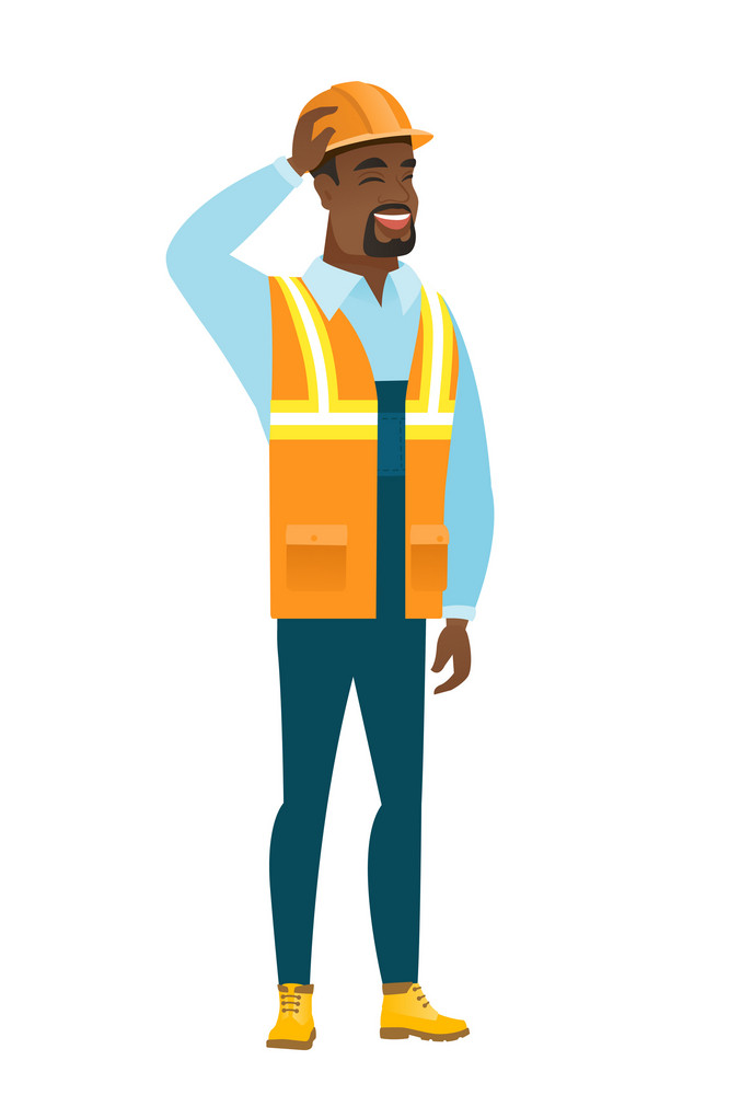 Young african builder in workwear. Builder in workwear laughing with hand on his head. Builder in workwear laughing ant touching his hat. Vector flat design illustration isolated on white background.