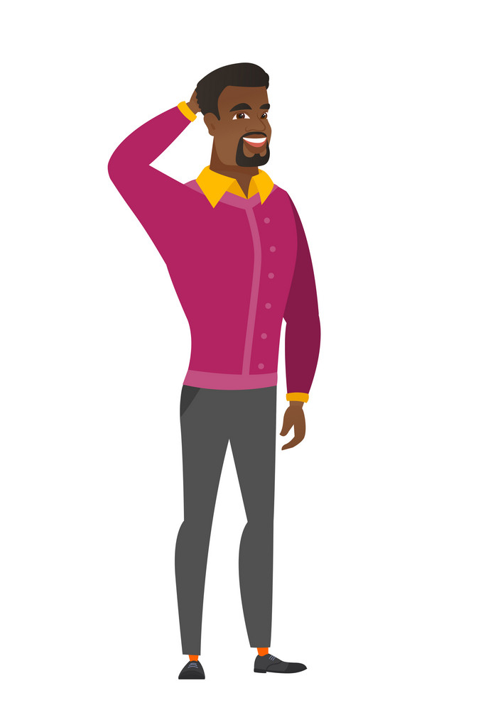 Young african businessman scratching his head. Full length of businessman touching his head. Happy businessman holding hand behind head. Vector flat design illustration isolated on white background.