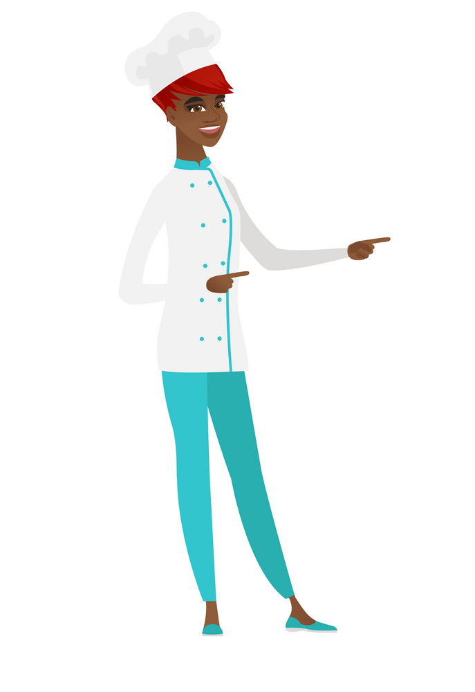 Young african chef cook in uniform pointing to the side. Chef cook pointing her finger to the side. Chef cook pointing to the right side. Vector flat design illustration isolated on white background.