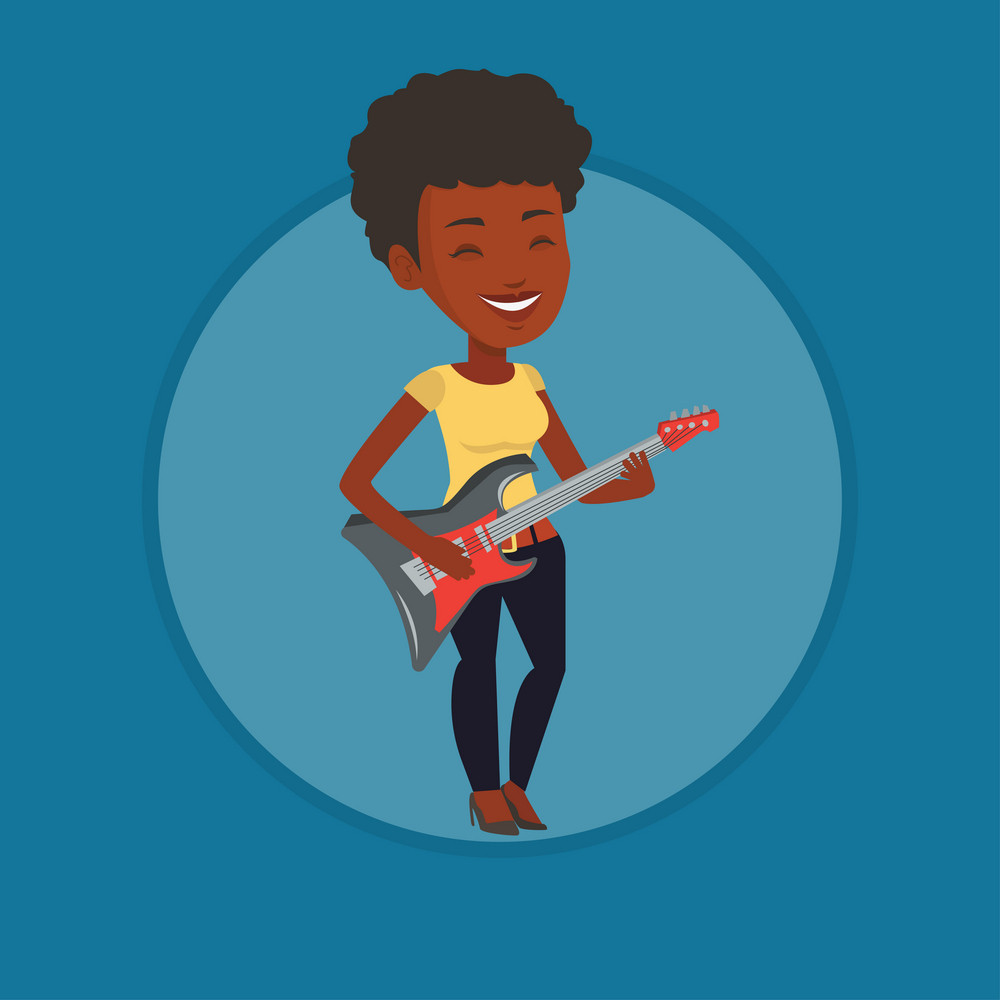 Young african guitarist playing electric guitar. Woman practicing in playing guitar. Guitarist with closed eyes playing on guitar. Vector flat design illustration in the circle isolated on background.
