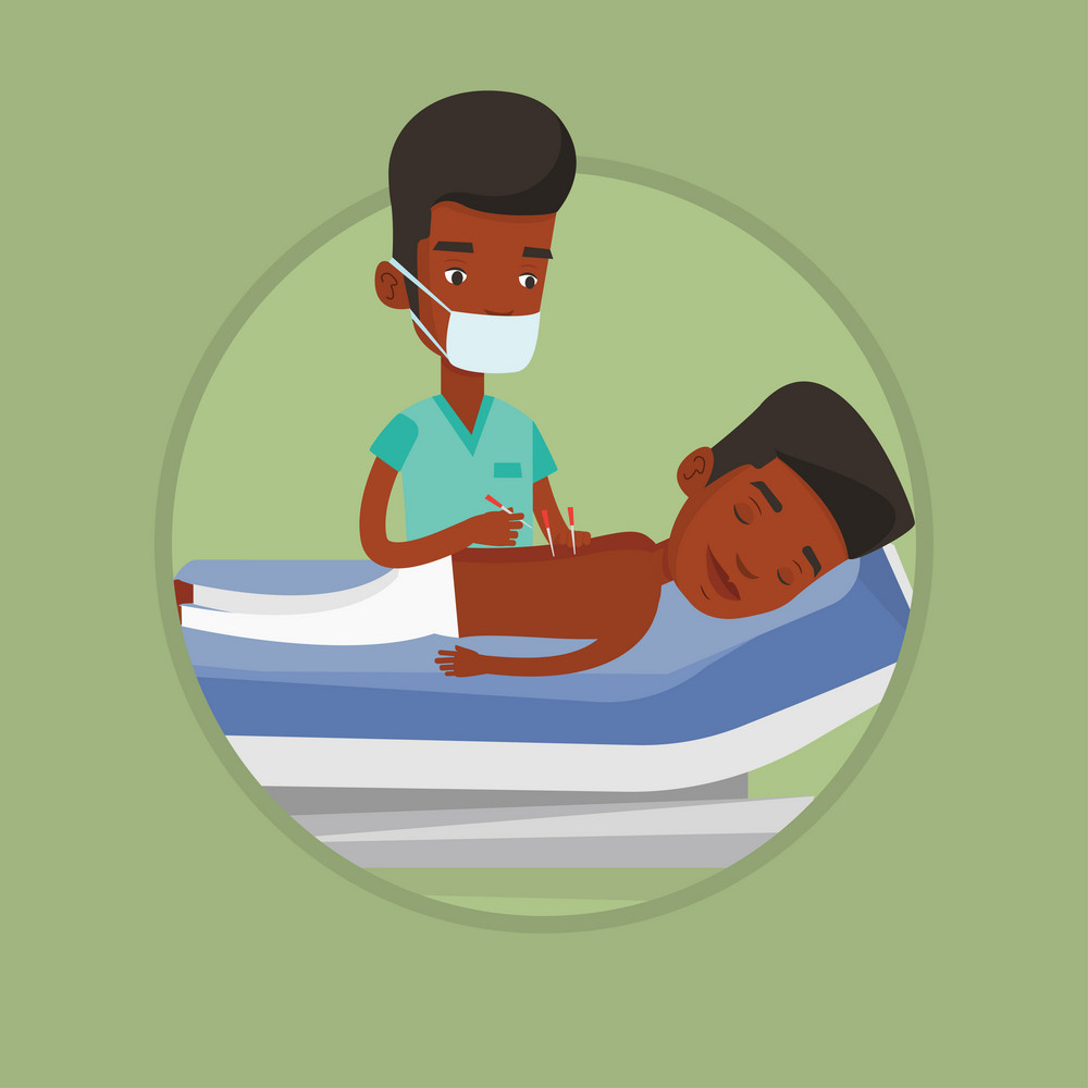 Young african man getting acupuncture treatment in salon. Acupuncturist doctor performing acupuncture therapy on back of customer. Vector flat design illustration in the circle isolated on background.