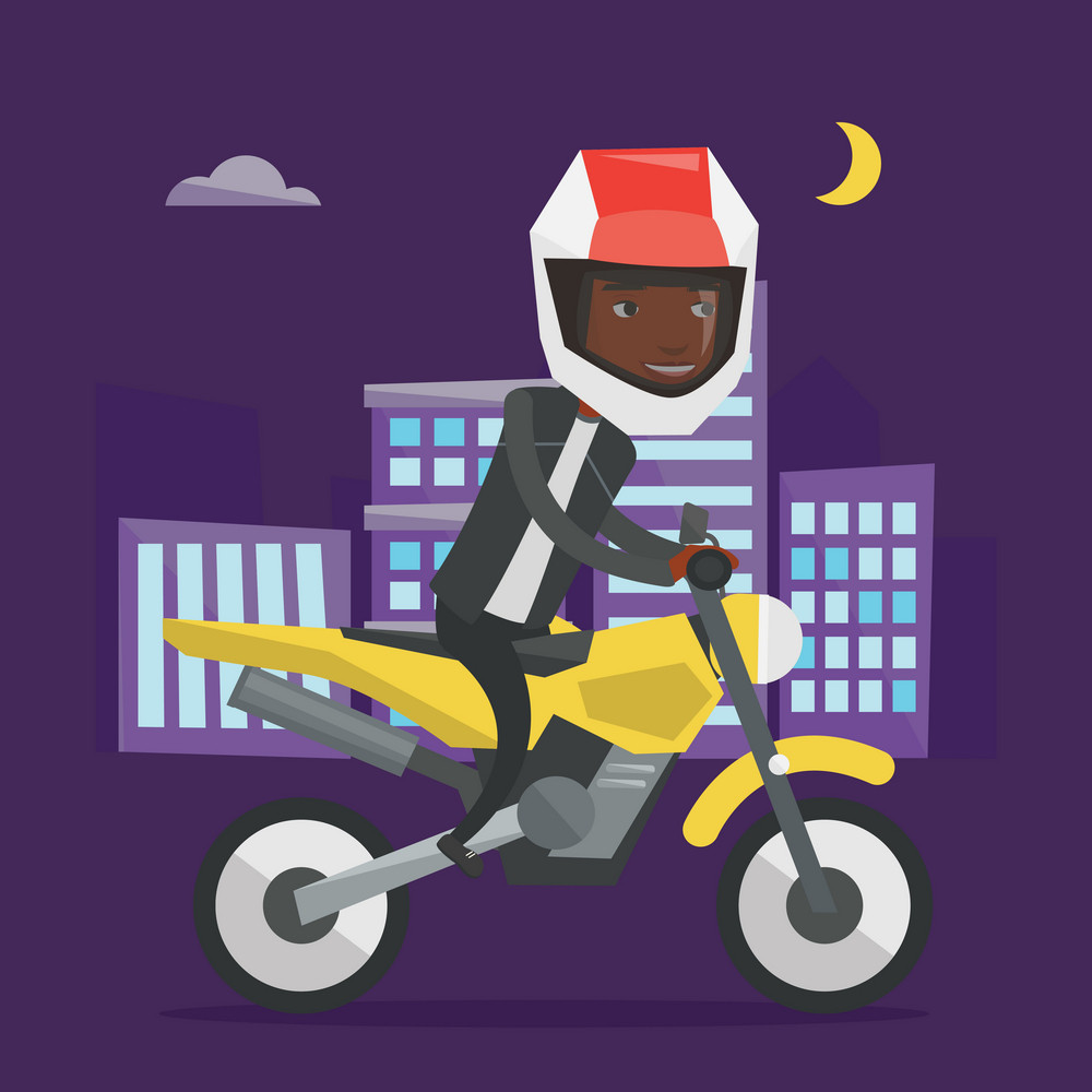 Young african man in helmet riding a motorcycle on the background of night city. Man driving a motorcycle on city road. Man riding a motorcycle at night. Vector flat design illustration. Square layout