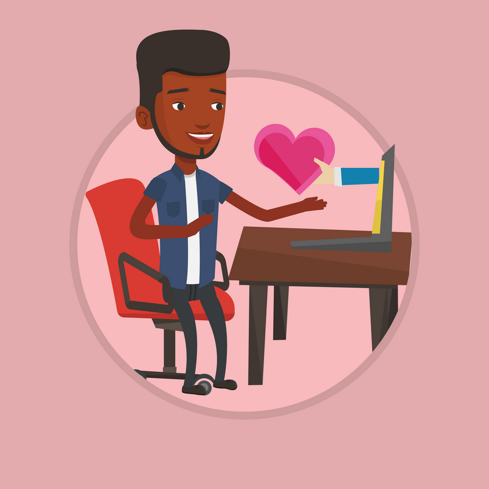 Young african man looking for online date. Man using laptop for dating online. Man dating online and getting virtual love message. Vector flat design illustration in the circle isolated on background.